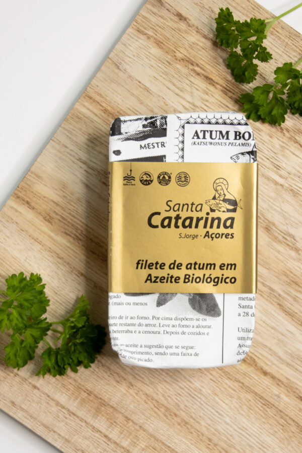 Filety z tuńczyka w organicznej oliwie z oliwek 120g SANTA CATARINA